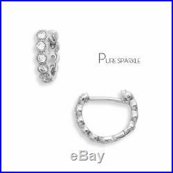 14K Gold 0.60 Ct. Diamond Bezel Set Huggie Hoop Earrings Fine Jewelry