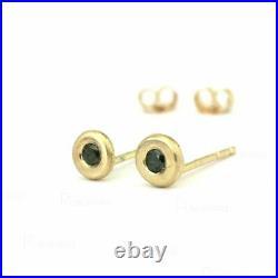 14K Gold Bezel Set 0.10 Ct. Black Diamond Mini Studs Earrings Jewelry