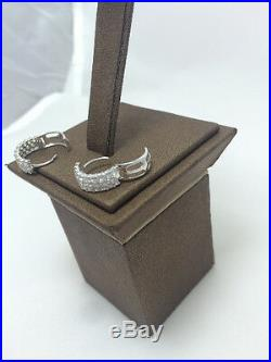 14K Pure Solid White Gold Fashion Huggie Earrings Set with Cubic Zirconia