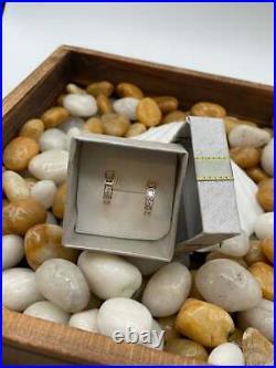 14K Pure Solid Yellow Gold CZ Princess Cut Huggie Single Row Fancy Earrings Set