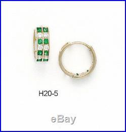 14K Pure Solid Yellow Gold Huggie Earrings Set Emerald May Birthstones
