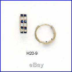 14K Pure Solid Yellow Gold Huggie Earrings Set Sapphire September Birthstone