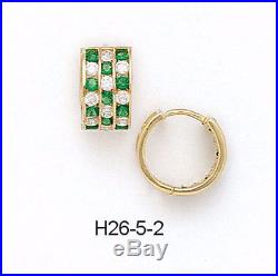14K Pure Solid Yellow Gold Huggie Earrings Set with Cubic Zirconia/Emerald