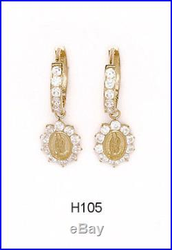 14K Pure Solid Yellow Gold Virgin Mary Huggie Earrings Set with Cubic Zirconia