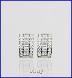 14K Pure Solid Yellow or White Gold Baguette and Round Cut Huggie Earrings Set