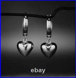 14K Pure Solid Yellow or White Gold Dangling Puffed Heart Huggie Earrings Set