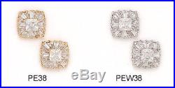 14K Pure Solid YellowithWhite Gold 10MM Fashion Earrings Set With Cubic Zirconia