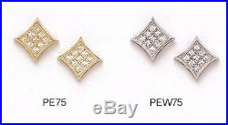 14K Pure Solid YellowithWhite Gold 8MM Square Cut Fashion Earrings Set Zirconia
