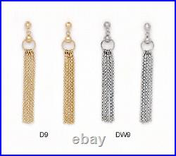 14K Pure Solid YellowithWhite Gold Dangle Drop Fashion Earrings Set