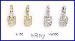 14K Pure Solid YellowithWhite Gold Dangle Drop Fashion Huggie Earrings Set