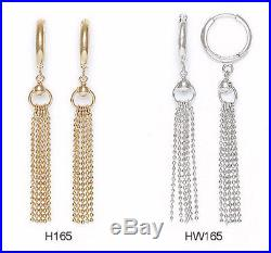 14K Pure Solid YellowithWhite Gold Dangle Drop Fashion Huggie Earrings Set