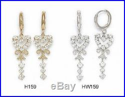 14K Pure Solid YellowithWhite Gold Dangle Drop Heart Huggie Earrings Set