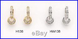 14K Pure Solid YellowithWhite Gold Dangle Drop Huggie Earrings Set