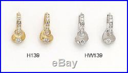 14K Pure Solid YellowithWhite Gold Heart Shaped Dangle Drop Huggie Earrings Set