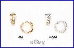 14K Pure Solid YellowithWhite Gold Huggie Earrings Set with Cubic Zirconia