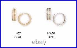 14K Pure Solid YellowithWhite Gold Huggie Earrings Set with Opal Cubic Zirconia