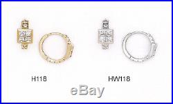 14K Pure Solid YellowithWhite Gold Huggie Earrings Set with Princess Cut
