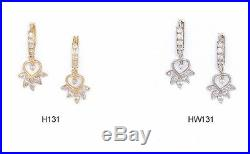 14K Pure Solid YellowithWhite Gold Huggie Heart Shaped Earrings Set