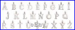 14K Pure White Gold Initial A to Z Pendants Set With Cubic Zirconia (Large)