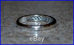 14K WHITE GOLD PAVE SET NATURAL DIAMOND. 25 BAND RING Sz7 Perfect Condition