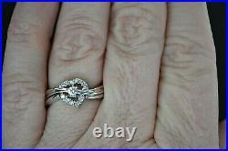 14K White Gold Diamond Heart Wedding Ring Set 5.2g Perfect for a Summer Wedding