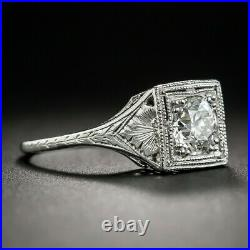 14K White Gold Over Perfect Art Deco Milgrain Square Setting Ring 1.85Ct Diamond