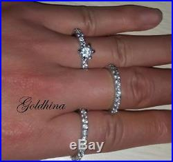 14K White Pure Gold 1.6CT Diamond Engagement Ring Wedding Trio Set For His & Her