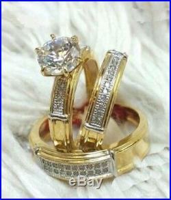 14K Yellow Pure Gold 1.55 Ct Diamond Wedding Trio Bridal Engagement Ring Set