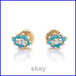 14KT Yellow gold Turquoise And CZ Necklace And Earrings Set 18 PERFECT FOR MOM