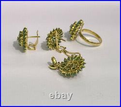 14k Pure Gold Cluster Set Earrings Ring Pendant, Natural Emerald 12.45 grams