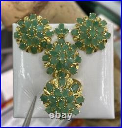 14k Pure Gold Cluster Set Earrings Ring Pendant, Natural Emerald 14.70 grams