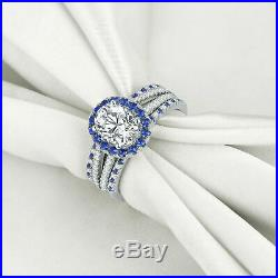 14k Real White Pure Gold Oval Sapphire And Diamond Wedding Bridal Set Band Ring