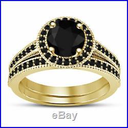 14k Real Yellow Gold Women's Wedding Ring Engagement Bridal Set Black Diamond