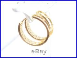 14kt Pure Yellow Gold Channel Set CZ 20MM Huggie Earrings. STAMPED & GUARANTEED