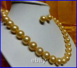 18 Aaaa 10-11mm Perfect Natural South Sea Golden Pearl Necklace Earring Set 14k