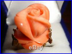 18 K Gold Ring & Earrings Set Coral Rose Vintage Hand Carved In Italy Perfect