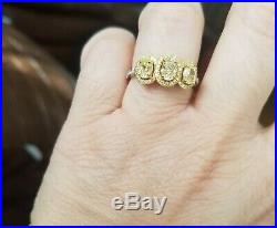 18K Pure Yellow and White Gold Canary Set halo and White Diamond Ring sz 7.25