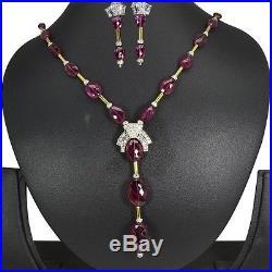 18k Pure Gold Natural Designer Tourmaline Diamond Necklace Earrings Jewelry Set