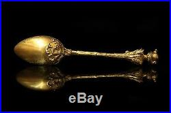 19 Th Century Antique Original Perfect Silver Gold Plated 6 Pieces Spoon Set