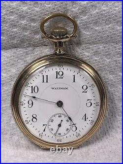 1914 Waltham A. W. W. Co. 16s 17J gold filled, perfect dial, hands, runs, sets
