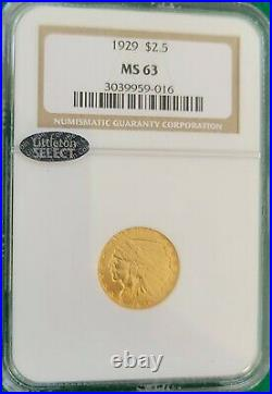 1929 $2.5 Indian Quarter Eagle, NGC MS63. Perfect Coin for Type Collector/Set