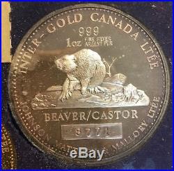 1979 Canada Johnson Matthey 1oz Pure Gold 1oz Pure Silver Beaver Set