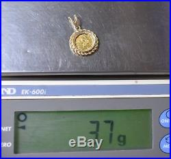 1985 1/20th. 999 Pure Gold Panda &. 33 ctw Diamond 14k Gold Bezel Set Pendant
