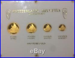 1986 SWITZERLAND-HELVETIAPURE GOLD COIN. 9999 (PROOF SET)1oz, 1/2,1/4,1/8oz