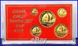 1987 China Chinese Panda. 999 Pure Gold 1.90 Oz Coins Set Of 5 Rare Collectible