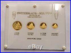 1987 The Matterhorn 4 Piece 999.9 Pure Gold Switzerland Helvetia Proff Set