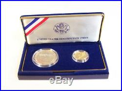 1987 US Constitution UNC. 2-Coin Set Silver Dollar and Gold $5 0.24oz pure gold