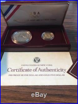 1988 US Olympic 2-Coin Commemorative Set. 24 Troy ounce of pure gold