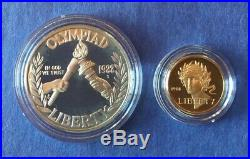 1988-W $5.00 Gold & $1.00 Silver Olympiad Coin Set. 24187 Ounce Pure Gold
