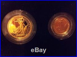 1989 4-Coin Gold Britannia Proof Set (withBox & COA) Total 1.85 oz of Pure Gold
